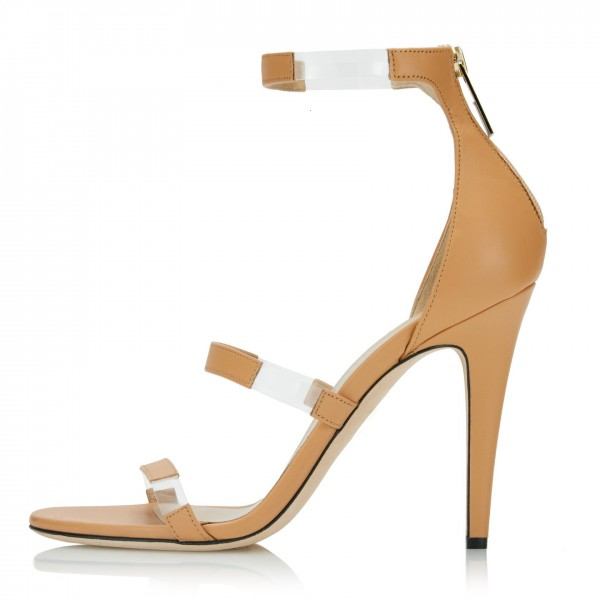 Khaki Clear Heels PVC Three Strap Open Toe Ankle Strap Sandals image 1