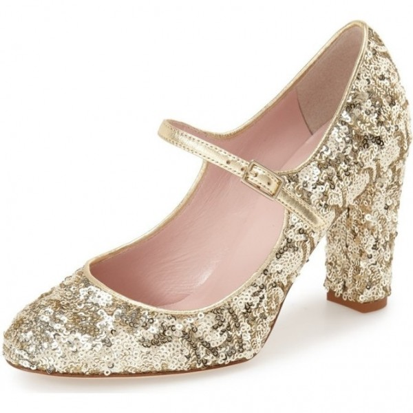 Women's Golden Sequined Chunky Heel Pumps Mary Jane Shoes image 1