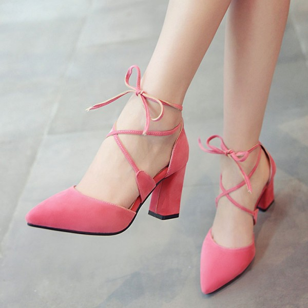 Pink Lace up Heels Suede Chunky Heel Closed Toe Sandals image 1