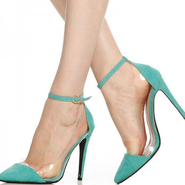 Women's Green Suede Clear Ankle Strap Heels Stiletto Heel Pumps image 1