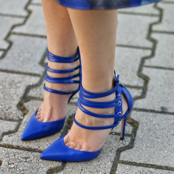 Blue Closed Toe Sandals Strappy Stiletto Heels Shoes image 1
