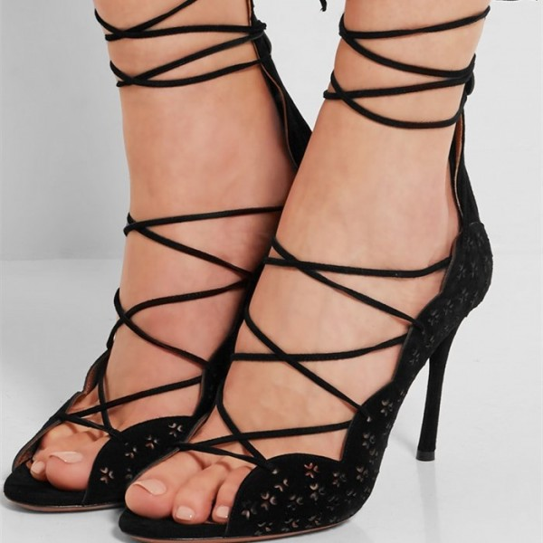 Women's Black Suede Strappy Heels Stiletto Heel Pumps image 1