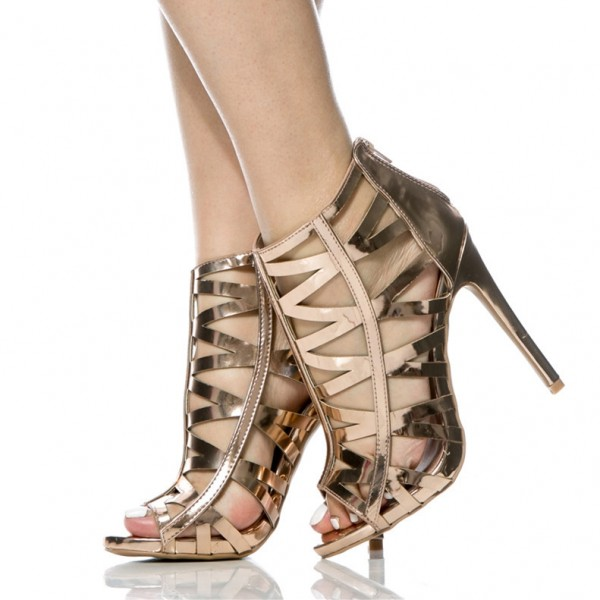 Champagne Metallic Heels Open Toe Stiletto Heel Cage Sandals image 1
