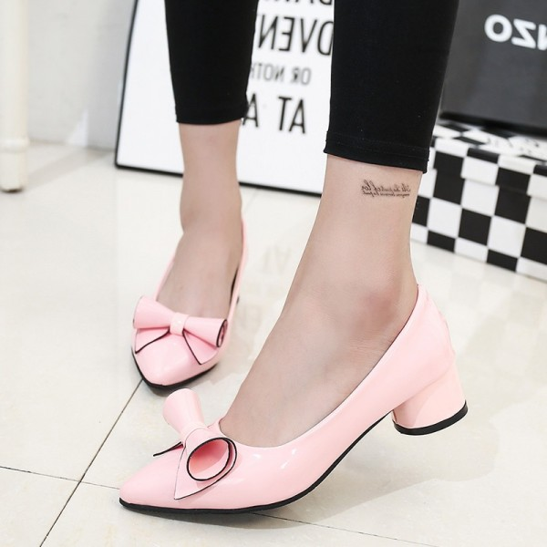 Women's Blush Pointy Toe Bowknot Chunky Heels Pumps image 1