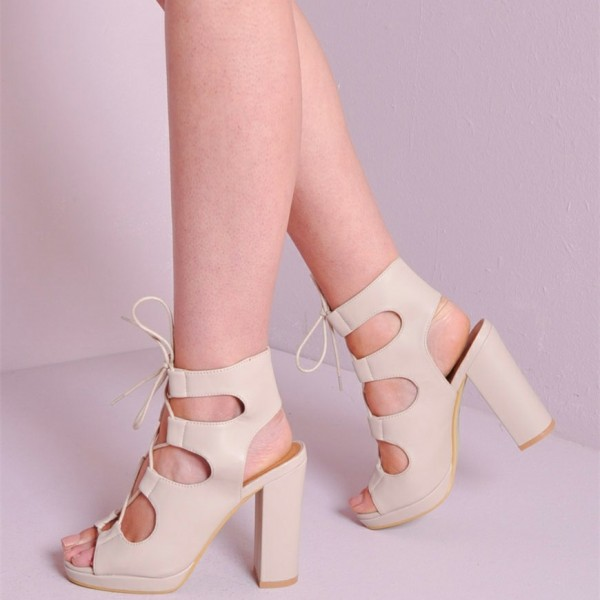 Women's White Chunky Heel Slingback Lace Up Sandals image 1