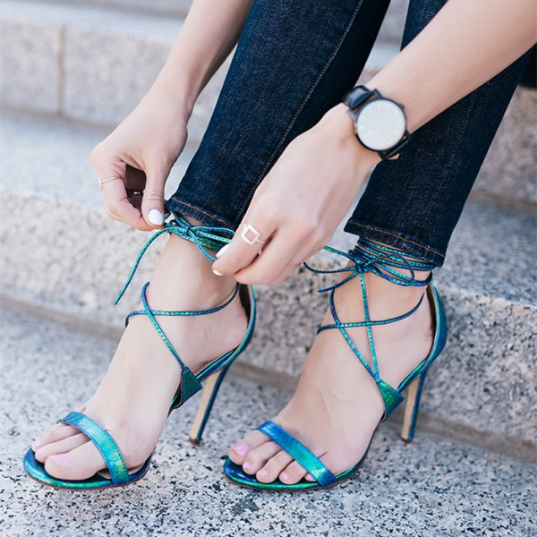 Women's Cyan Open Toe Cross Over Strappy Stiletto Heel Sandals image 1