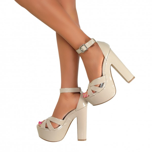 Women's White Platform Patent Leather Ankle Strap Chunky Heel Sandals image 1