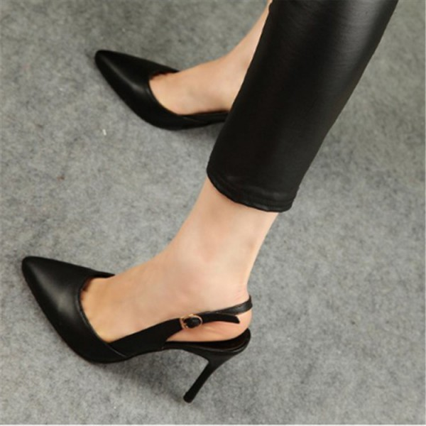 Women's Black Stiletto Heels Buckle Slingback Pumps image 1