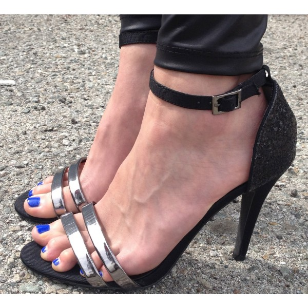 Women's Black Silver straps Stiletto Heel Ankle Strap Sandals image 1