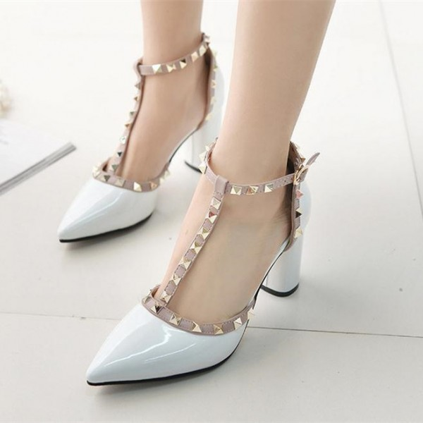 cb792e3e492 White Studs Shoes T Strap Block Heel Patent Leather Pumps for Party ...