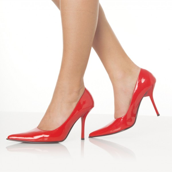 Women's Red 3 Inch Heels Pointy Toe Patent Leather Stiletto Heels image 1