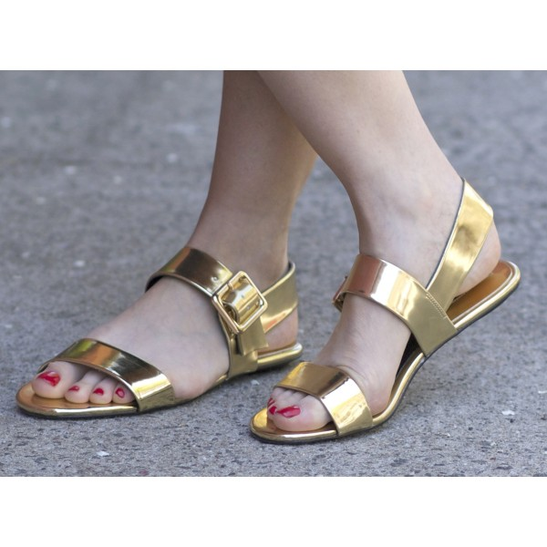 Gold Metallic Summer Sandals Open Toe Flats US Size 3 -15 image 1