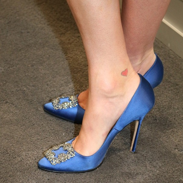 Blue Bridal Heels Satin Rhinestone Wedding Pumps image 2