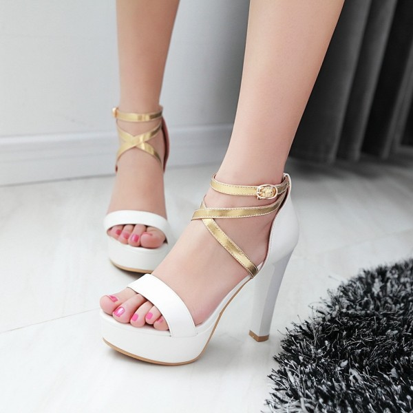 Women's White Ankle Strap Cross Over Platform Chunky Heel Sandals image 1