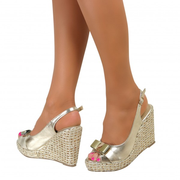 Women's Champagne Slingback Bow Glitter Wedge Sandals  image 1