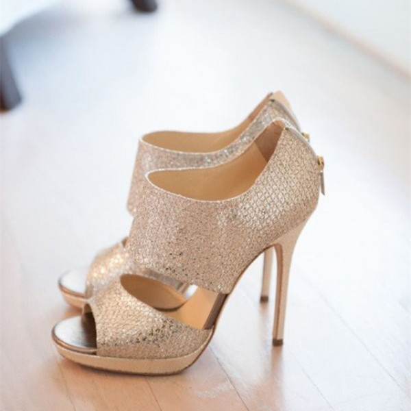 Women's Golden Glitter Stiletto Heel Wedding Sandals image 1
