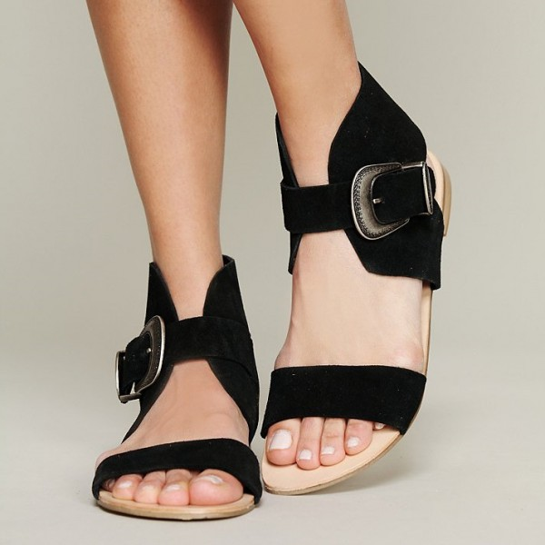 Women's Black Suede Open Toe Buckle School Shoes Sandal Flats image 1