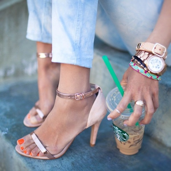 FSJ Suede and Metallic Rose Gold Sandals Open Toe Ankle Strap Sandals image 1