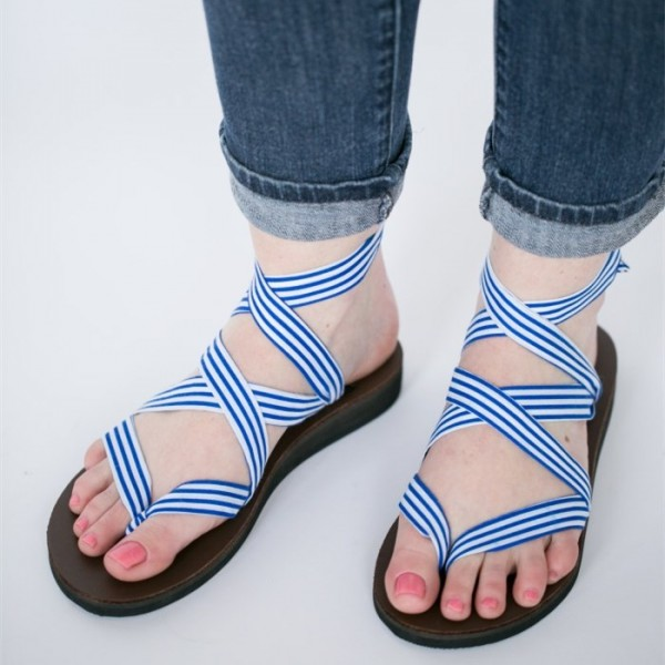 Blue and White Stripes Summer Sandals Open Toe Flat Shoes US Size 3-15 image 1