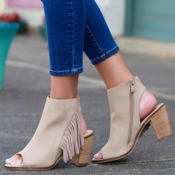 Beige Chunky Heel Open Toe Boots Fringe Summer Boots US Size 3-15 image 1