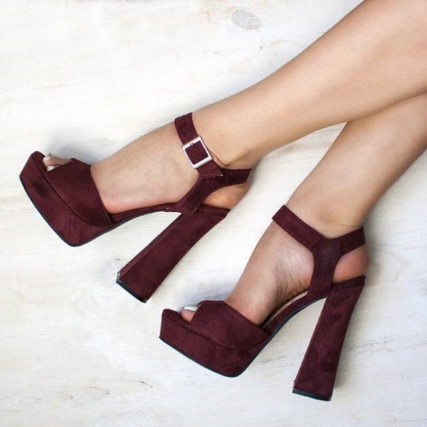 Women's Burgundy Suede Platform Chunky Heels Ankle Strap Sandals ...