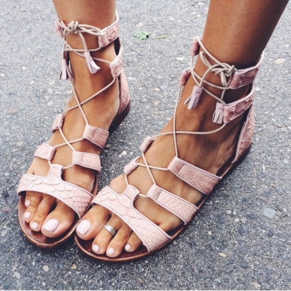 Pink Gladiator Sandals Open Toe  Flats Lace up Strappy Sandals image 1