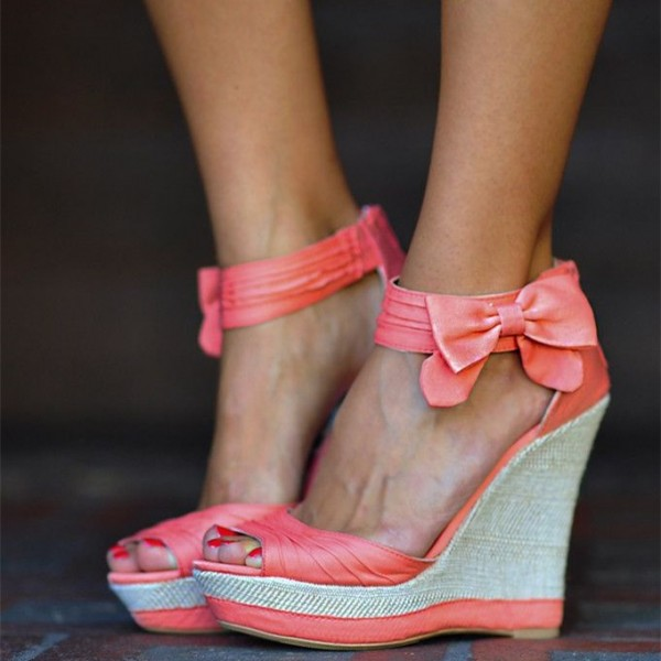 Light Salmon Satin Wedge Sandals Peep Toe Ankle Strap Sandals with Bow image 1