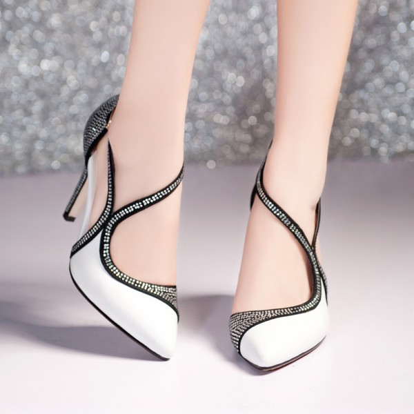 Black and White Prom Shoes Chunky Heel Rhinestone Evening Shoes image 2