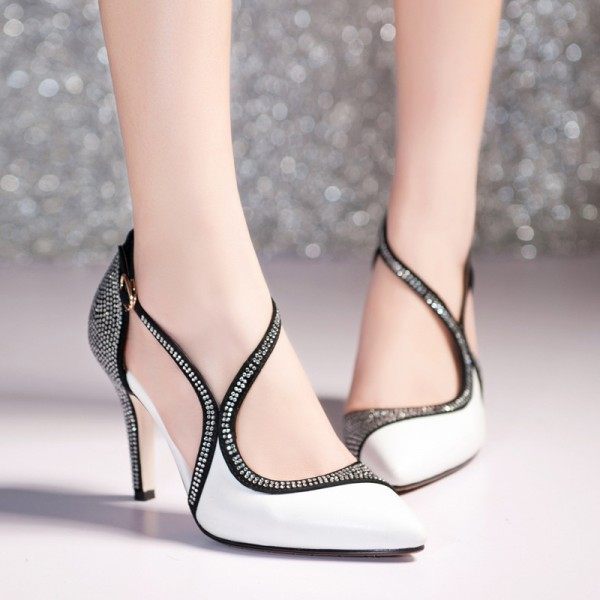 Black and White Prom Shoes Chunky Heel Rhinestone Evening Shoes image 1