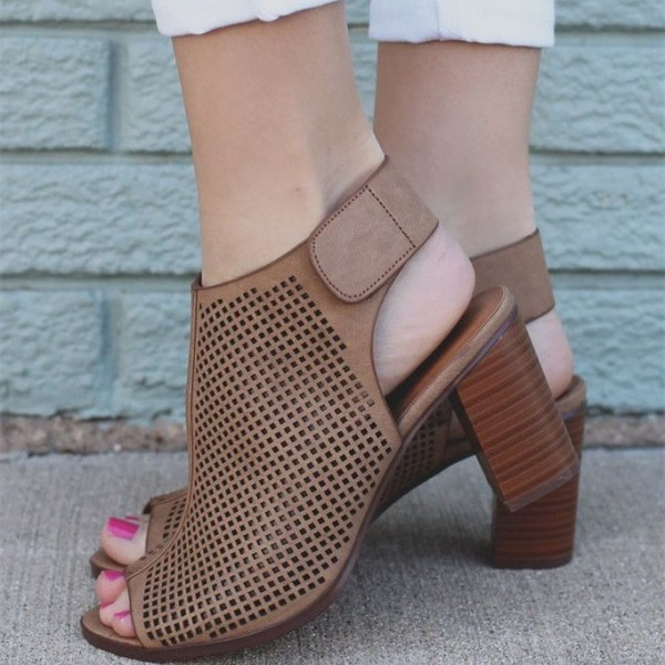 Women's Brown Summer Boots Chunky Heels Peep Toe Hollow Out Slingback Ankle Booties image 1