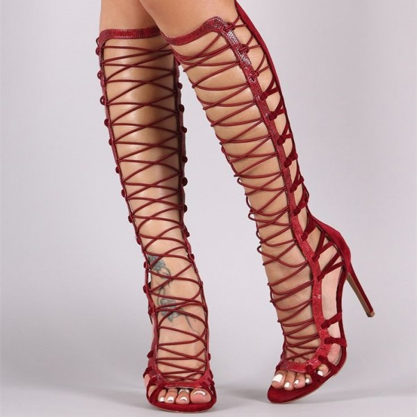 Women's Red Stiletto Heels Peep Toe Knee High Strappy Gladiator Sandals   image 1