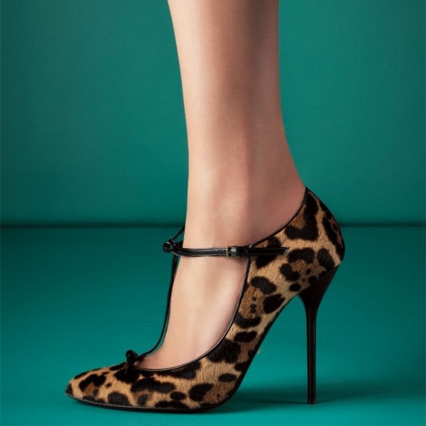 Horsehair T Strap Leopard Print Heels Pointy Toe Stiletto Heels Pumps image 1