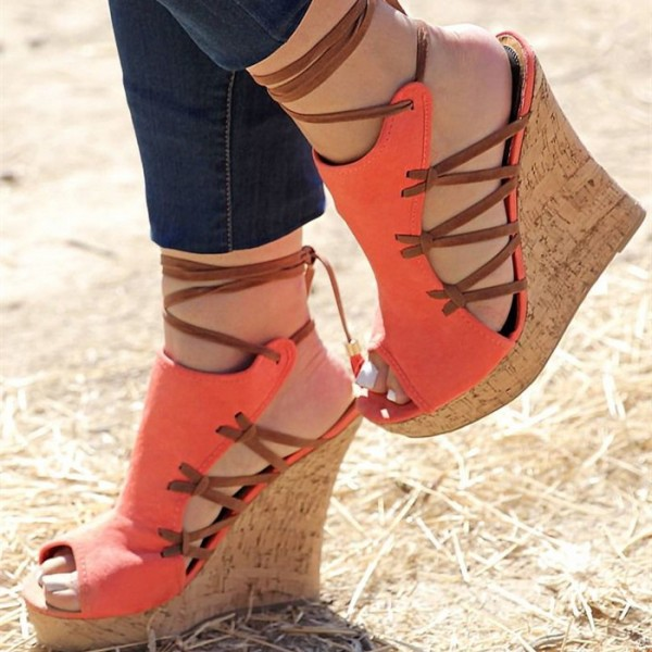 Orange Cork Wedges Ankle Wrap Strappy Peep Toe Suede Platform Sandals image 1