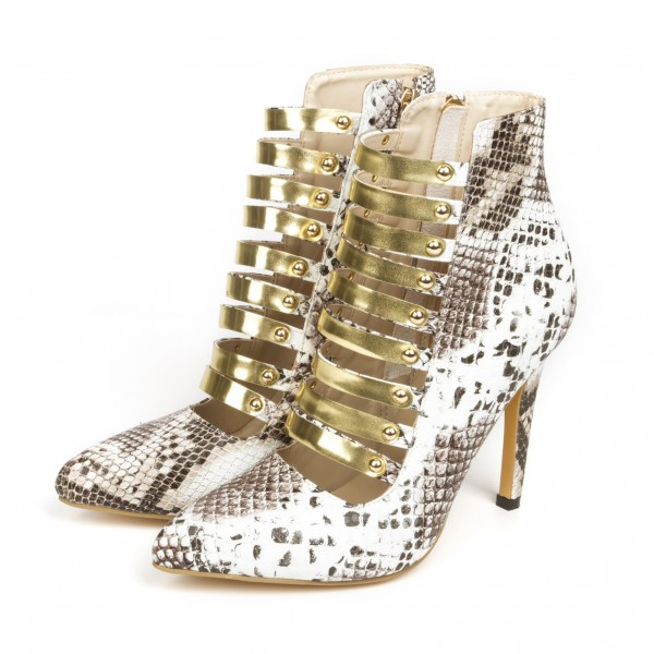 Grey Snakeskin Booties Metal Straps Stiletto Heel Ankle Boots image 1