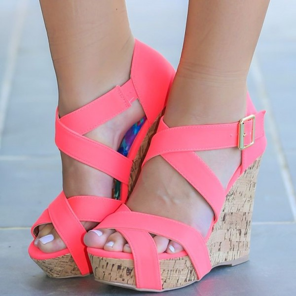 Neon Pink Cork Wedges Open Toe Crisscross Strap Platform