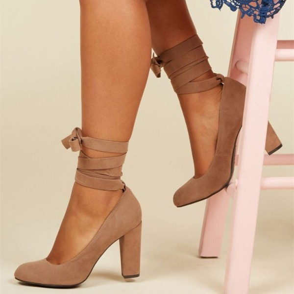 Nude Strappy Heels Round Toe Suede Chunky Heel Lace up Pumps for ...
