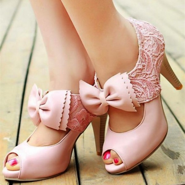 Pink Summer Peep Toe Booties Lace Cut out Ankle Boots with Bow image 1