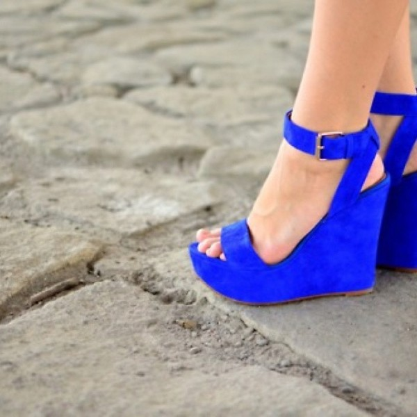 Women's Royal Blue Platform Ankle Strap Slingback Wedge Sandals image 1