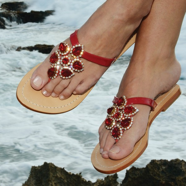 Red Cute Sandals Rhinestone Open Toe Beach Flip Flops for Travelling image 1