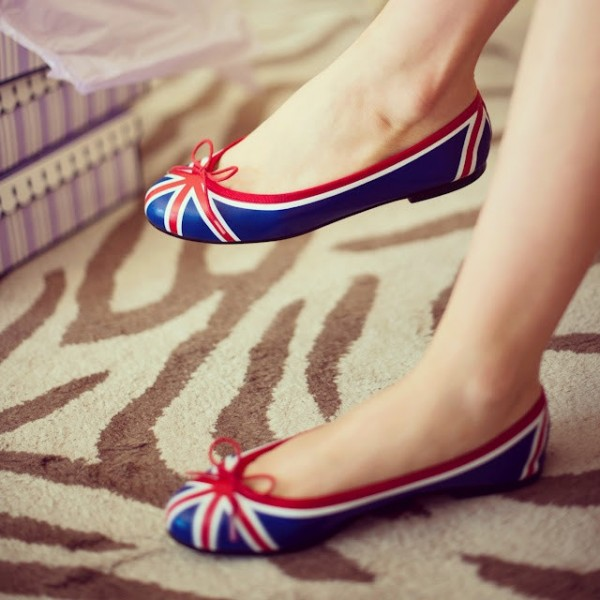 Women's Blue and Red School Shoes Round Toe Comfortable Flats with Bow image 1