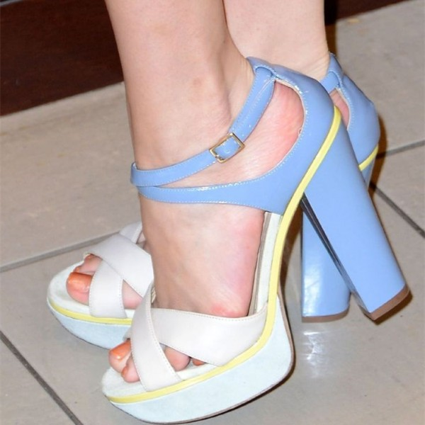 Women's Beige and Blue Chunky Heels Platform Buckle Ankle Strap Sandals image 1