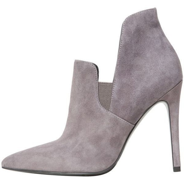 Grey Stiletto Boots Suede Pointy Toe Heels Ankle Booties For Women image 1