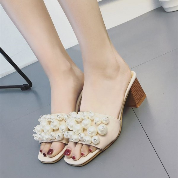 Nude Block Heels Open Toe Mules with Pearls image 1