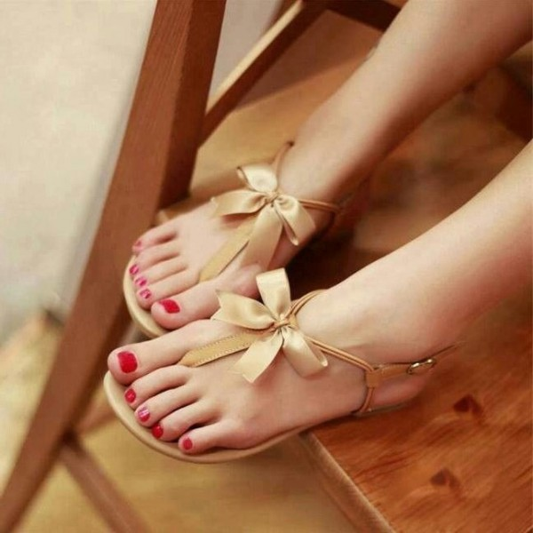 Tan Cute Sandals Open Toe Beach Summer Flat Sandals with Bow image 1