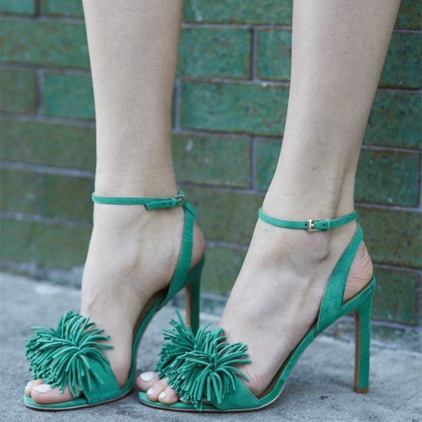 Women's Green Suede Stiletto Heels Fringe Ankle Strap Sandals image 1