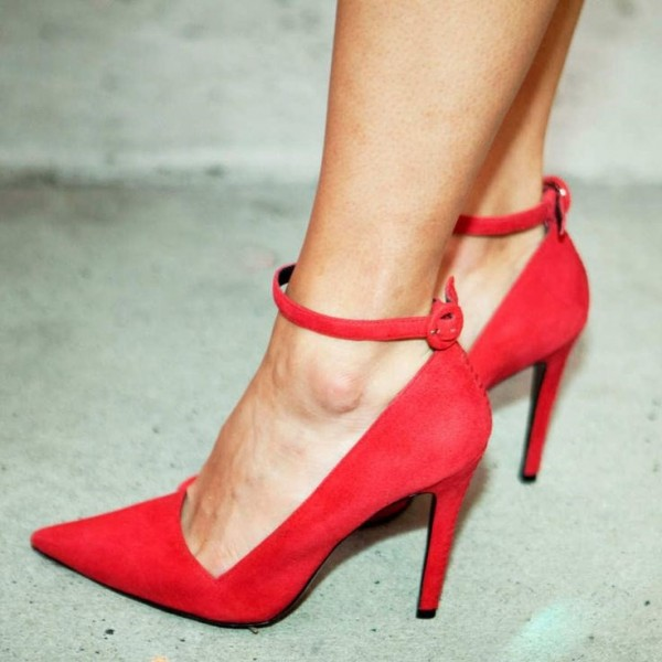 Red Stiletto Heels Dress Shoes Pointy Toe Suede Ankle Strap Pumps image 1