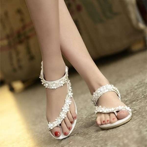 White Flower Summer Sandals Open Toe Cute Flat Sandals US Size 3-15 image 1