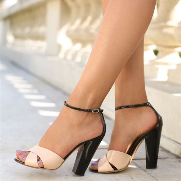 Women's Pink Patent Leather Chunky Heels Peep Toe Ankle Strap Sandals  image 1