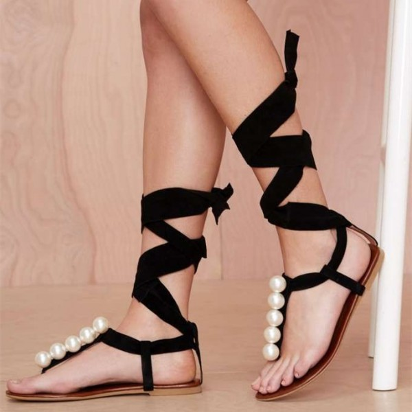 Women's Lelia Black Strappy Sandals Comfortable Shoes Decorated with Pearl  image 1