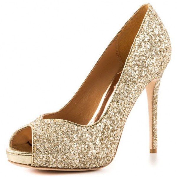 Golden Peep Toe Stiletto Heels Glitter Shoes Prom Pumps image 1